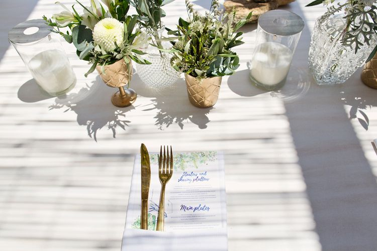 Illustration Menu Cards with Gold Cutlery