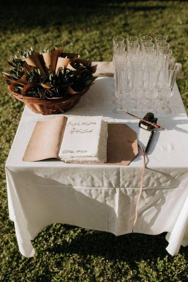 Confetti cones and rustic guestbook