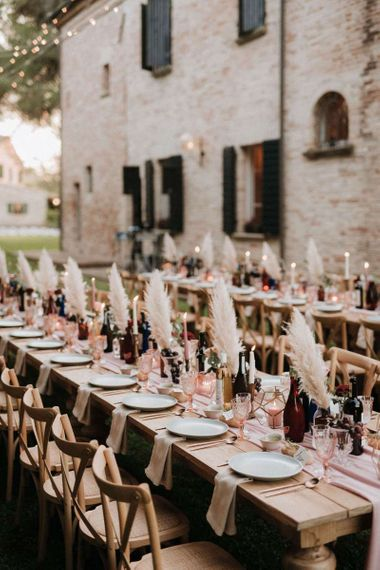 Banquet wedding tables with rustic chic decor