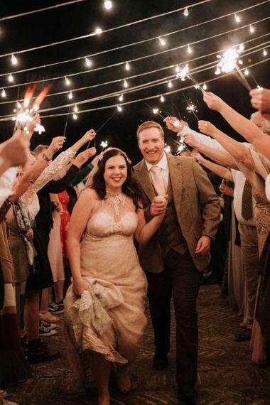 Bride and groom sparkler exit at destination wedding