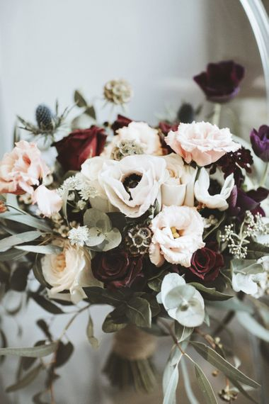 Bridal Bouquet with Burgundy Roses and Anemone Flowers
