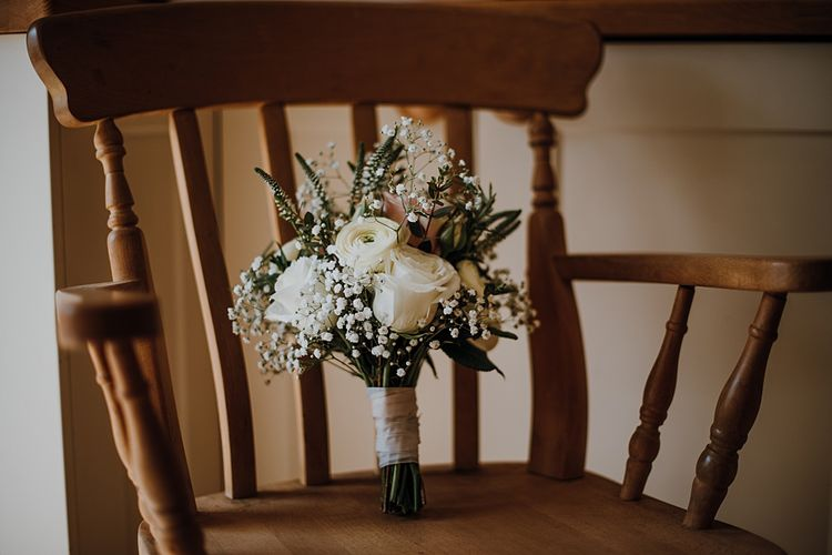 White Rose & Gypsophila Bridal Bouquet | Homemade, Homegrown Village Marquee Wedding with Greenery | Rustic DIY Decor | Claire Fleck Photography | Second Shooter Oscar Davies Photography