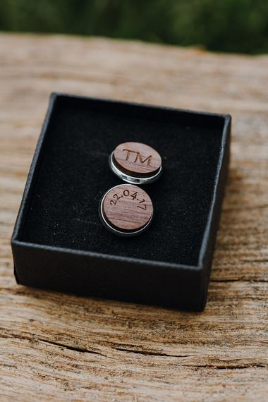 Wooden Cufflinks | Homemade, Homegrown Village Marquee Wedding with Greenery | Rustic DIY Decor | Claire Fleck Photography | Second Shooter Oscar Davies Photography