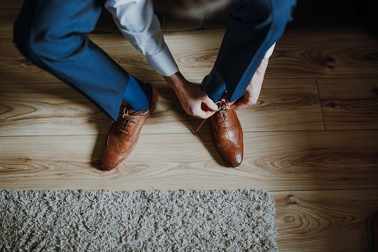 Grooms Brown Brogues | Homemade, Homegrown Village Marquee Wedding with Greenery | Rustic DIY Decor | Claire Fleck Photography | Second Shooter Oscar Davies Photography