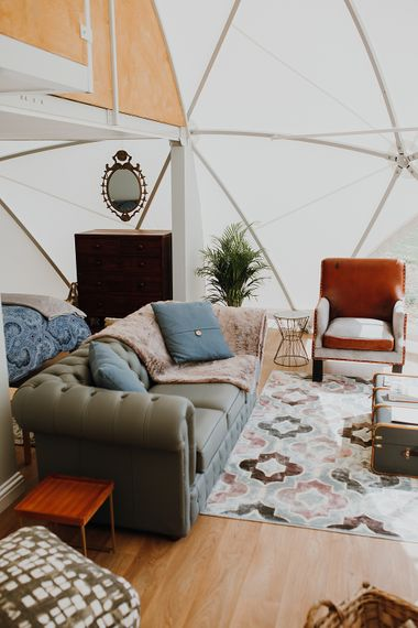 Glamping Tent | Homemade, Homegrown Village Marquee Wedding with Greenery | Rustic DIY Decor | Claire Fleck Photography | Second Shooter Oscar Davies Photography