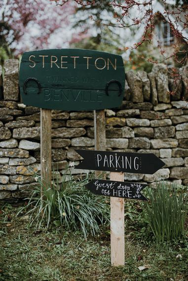 Wedding Signs | Homemade, Homegrown Village Marquee Wedding with Greenery | Rustic DIY Decor | Claire Fleck Photography | Second Shooter Oscar Davies Photography