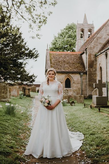 Bride in Bespoke Gown | Homemade, Homegrown Village Marquee Wedding with Greenery | Rustic DIY Decor | Claire Fleck Photography | Second Shooter Oscar Davies Photography