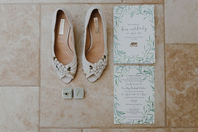 Rachel Simpson Bridal Shoes | Homemade, Homegrown Village Marquee Wedding with Greenery | Rustic DIY Decor | Claire Fleck Photography | Second Shooter Oscar Davies Photography