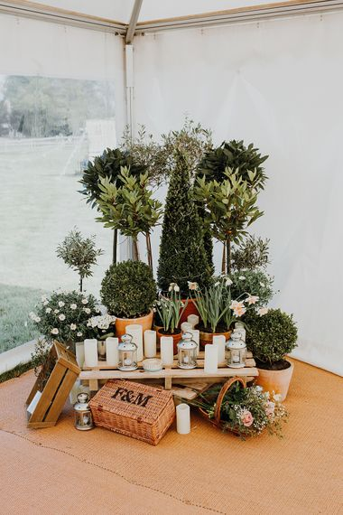 Plant Display Wedding Decor | Homemade, Homegrown Village Marquee Wedding with Greenery | Rustic DIY Decor | Claire Fleck Photography | Second Shooter Oscar Davies Photography