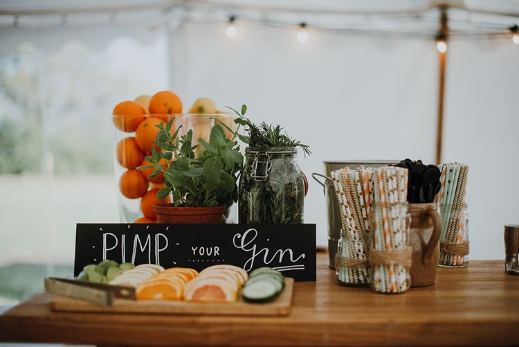 Pimp Your Gin | Homemade, Homegrown Village Marquee Wedding with Greenery | Rustic DIY Decor | Claire Fleck Photography | Second Shooter Oscar Davies Photography