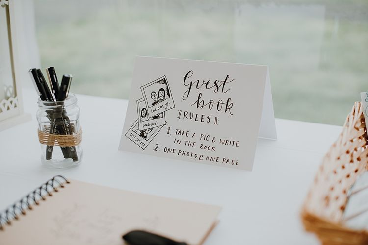 Guest Book Sign | Homemade, Homegrown Village Marquee Wedding with Greenery | Rustic DIY Decor | Claire Fleck Photography | Second Shooter Oscar Davies Photography