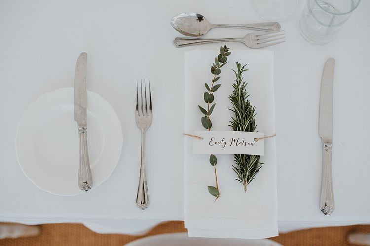 Place Setting with Foliage | Homemade, Homegrown Village Marquee Wedding with Greenery | Rustic DIY Decor | Claire Fleck Photography | Second Shooter Oscar Davies Photography
