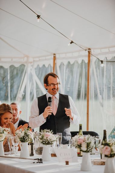 Reception Speeches | Homemade, Homegrown Village Marquee Wedding with Greenery | Rustic DIY Decor | Claire Fleck Photography | Second Shooter Oscar Davies Photography