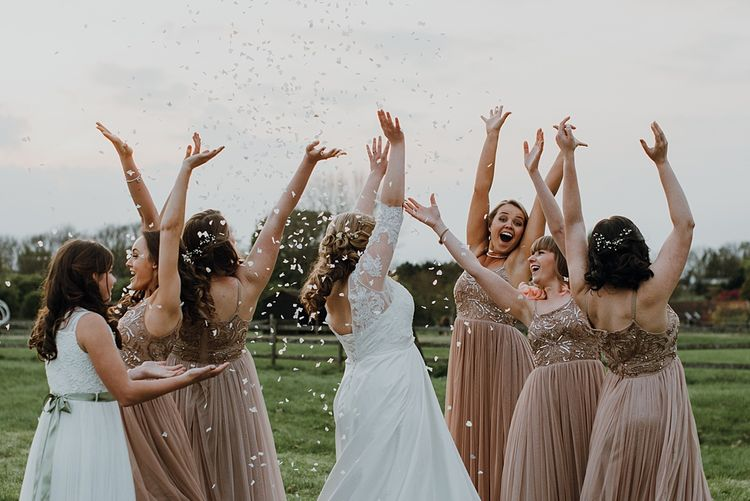 Bridal Party | Pink ASOS Bridesmaid Dresses | Bespoke Bridal Gown | Homemade, Homegrown Village Marquee Wedding with Greenery | Rustic DIY Decor | Claire Fleck Photography | Second Shooter Oscar Davies Photography