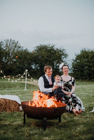 Fire Pit | Homemade, Homegrown Village Marquee Wedding with Greenery | Rustic DIY Decor | Claire Fleck Photography | Second Shooter Oscar Davies Photography