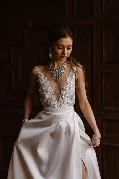 Lace Illusion V Front Wedding Dress | Emma Beaumont Wedding Dress Collection | Bridal Gowns | Stylish Wedding Dresses | Agnes Black Photography