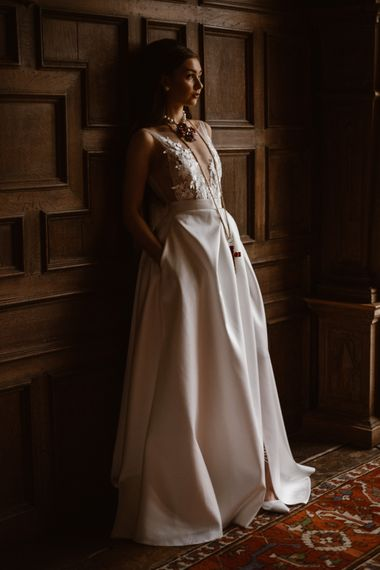 Lace Illusion V Front Wedding Dress & Pockets | Emma Beaumont Wedding Dress Collection | Bridal Gowns | Stylish Wedding Dresses | Agnes Black Photography