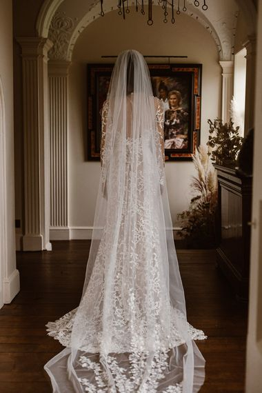 Applique Cathedral Length Veil | Emma Beaumont Wedding Dress Collection | Bridal Gowns | Stylish Wedding Dresses | Agnes Black Photography