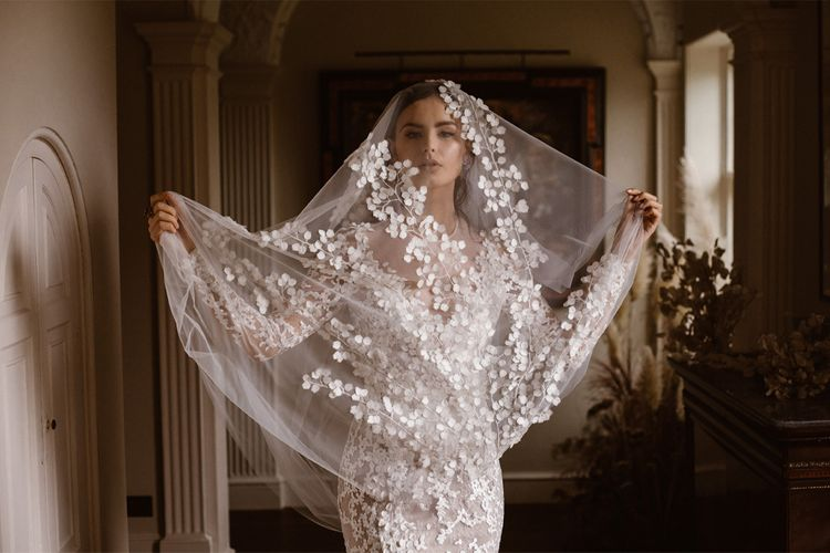 Applique Wedding Veil | Emma Beaumont Wedding Dress Collection | Bridal Gowns | Stylish Wedding Dresses | Agnes Black Photography
