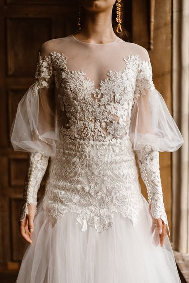 Illusion Lace Fitted Top with Balloon Sleeves, Drop Waist & Tulle Skirt | Emma Beaumont Wedding Dress Collection | Bridal Gowns | Stylish Wedding Dresses | Agnes Black Photography