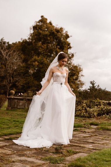 Fitted Corset Style Wedding Dress with Floaty Skirt  | Emma Beaumont Wedding Dress Collection | Bridal Gowns | Stylish Wedding Dresses | Agnes Black Photography
