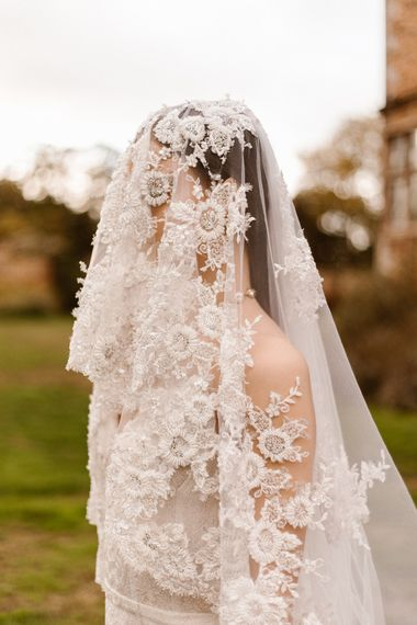 Intricate Lace Wedding Veil | Emma Beaumont Wedding Dress Collection | Bridal Gowns | Stylish Wedding Dresses | Agnes Black Photography