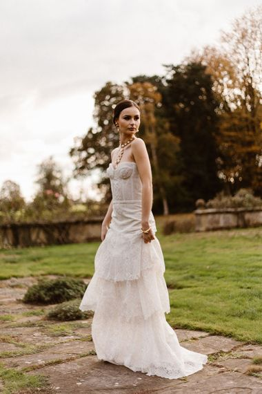 Fitted Corset Wedding Dress with Tiered Wedding Skirt | Emma Beaumont Wedding Dress Collection | Bridal Gowns | Stylish Wedding Dresses | Agnes Black Photography