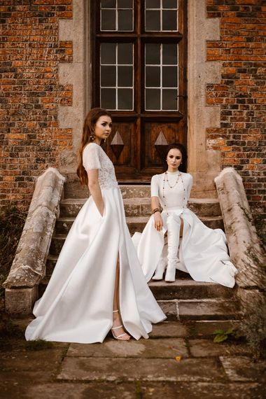 3/4 Sleeve Bridal Gowns with Wrap Front Skirt & Including Pockets | Emma Beaumont Wedding Dress Collection | Bridal Gowns | Stylish Wedding Dresses | Agnes Black Photography
