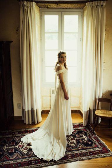 Halfpenny London Bride // La Leotardie French Destination Wedding Venue With Accommodation // Halfpenny London Bride // Bridesmaids In Green Dresses // Michelle Wood Photographer