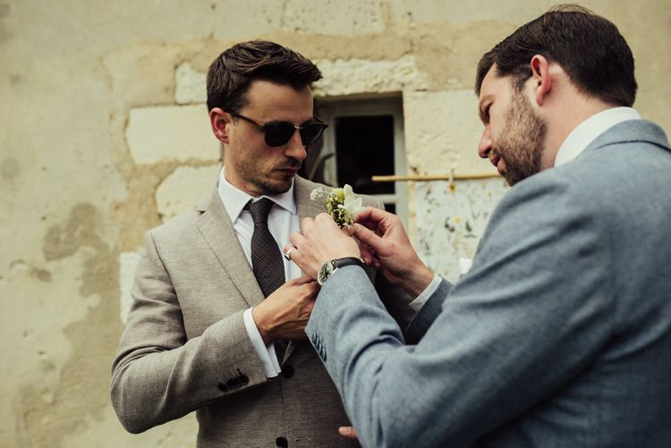 Groom In Taupe Jacket // La Leotardie French Destination Wedding Venue With Accommodation // Halfpenny London Bride // Bridesmaids In Green Dresses // Michelle Wood Photographer