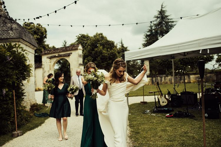 La Leotardie French Destination Wedding Venue With Accommodation // Halfpenny London Bride // Bridesmaids In Green Dresses // Michelle Wood Photographer