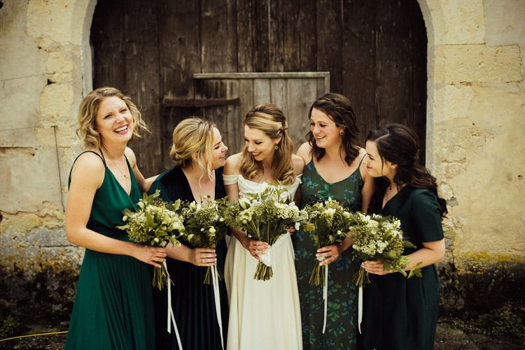 Bridesmaids In Green High Street Dresses // La Leotardie French Destination Wedding Venue With Accommodation // Halfpenny London Bride // Bridesmaids In Green Dresses // Michelle Wood Photographer