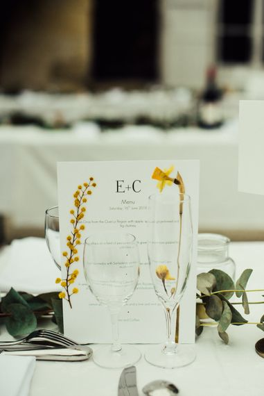 Dried Flower Wedding Stationery // La Leotardie French Destination Wedding Venue With Accommodation // Halfpenny London Bride // Bridesmaids In Green Dresses // Michelle Wood Photographer