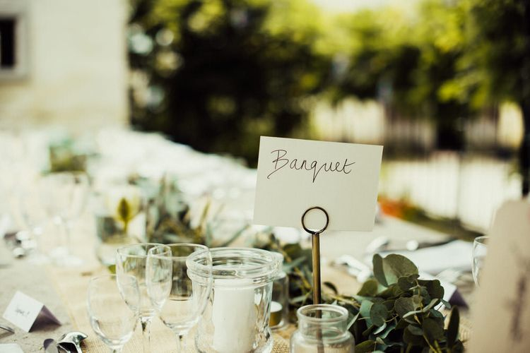 Foliage Runners For Wedding Tables // La Leotardie French Destination Wedding Venue With Accommodation // Halfpenny London Bride // Bridesmaids In Green Dresses // Michelle Wood Photographer