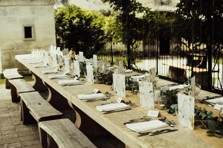 Wooden Trestle Tables With Benches For Wedding // La Leotardie French Destination Wedding Venue With Accommodation // Halfpenny London Bride // Bridesmaids In Green Dresses // Michelle Wood Photographer