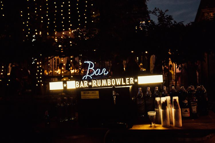 Bar Neon Sign For Wedding // La Leotardie French Destination Wedding Venue With Accommodation // Halfpenny London Bride // Bridesmaids In Green Dresses // Michelle Wood Photographer