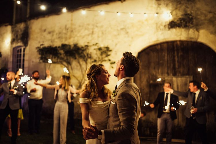 First Dance // La Leotardie French Destination Wedding Venue With Accommodation // Halfpenny London Bride // Bridesmaids In Green Dresses // Michelle Wood Photographer