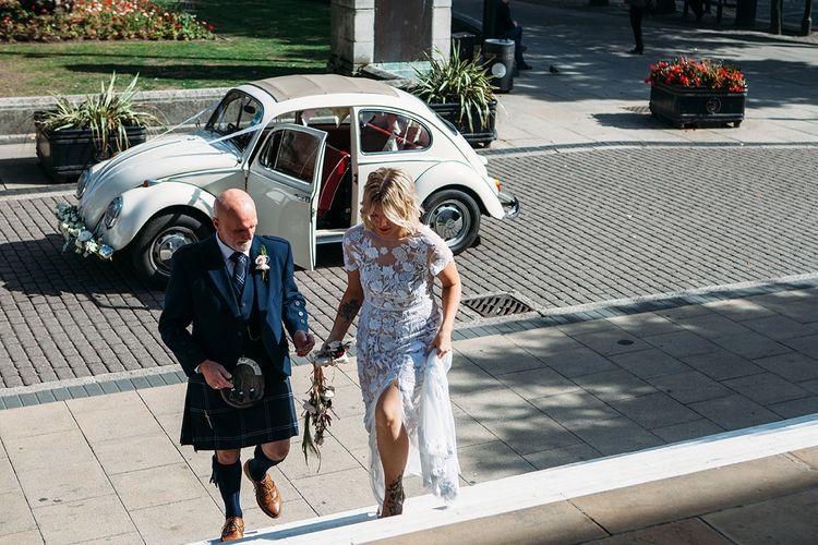 Wedding Ceremony Bridal Entrance in Vintage Beetle Wedding Car