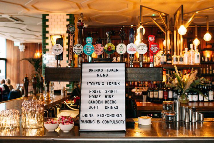 Peg Board Drinks Token Bar Wedding Sign and Dance Floor Rules