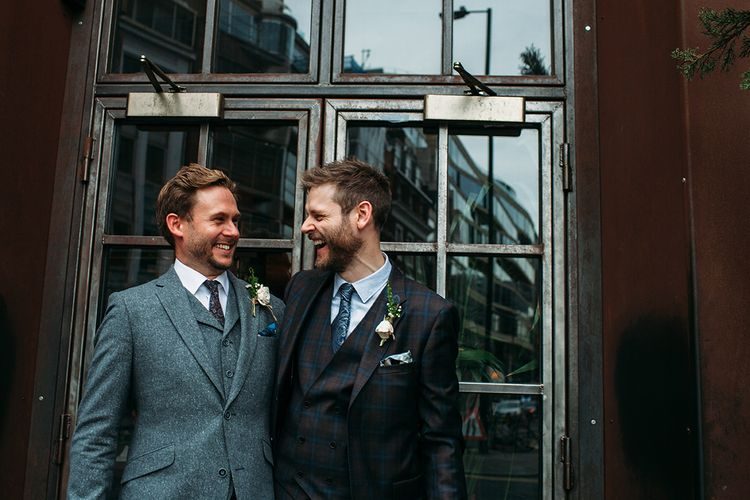 Groom in Check Ted Baker Suit and Best Man in Wool Suit