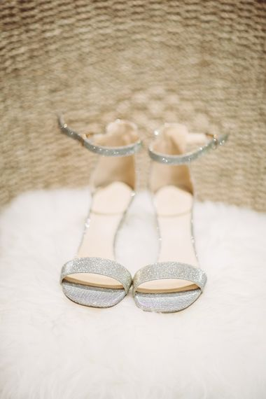 Metallic Wedding Shoes // Brookfield Barn Wedding Venue With Rustic Styling And Bride In Enzoani With Images From Lemonade Pictures And Film By Kitebox Films