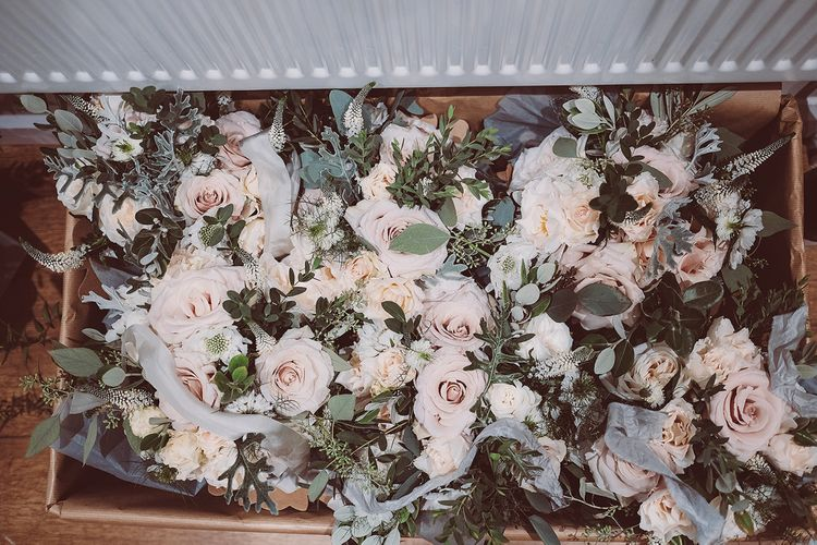 Pink Roses And Sage Green Foliage For Wedding Bouquets // Brookfield Barn Wedding Venue With Rustic Styling And Bride In Enzoani With Images From Lemonade Pictures And Film By Kitebox Films