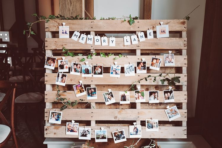 Wedding Polaroid Display // Brookfield Barn Wedding Venue With Rustic Styling And Bride In Enzoani With Images From Lemonade Pictures And Film By Kitebox Films