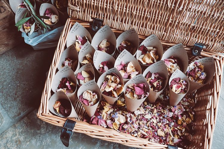 Dried Petal Confetti // Brookfield Barn Wedding Venue With Rustic Styling And Bride In Enzoani With Images From Lemonade Pictures And Film By Kitebox Films