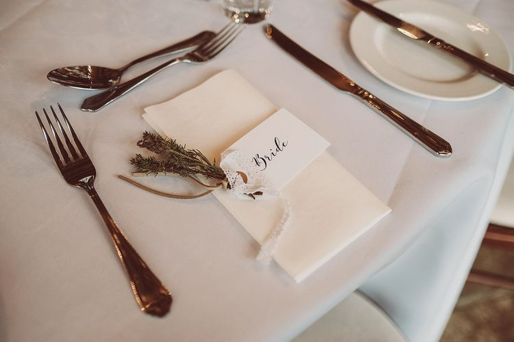 Lavender Place Setting For Bride // Brookfield Barn Wedding Venue With Rustic Styling And Bride In Enzoani With Images From Lemonade Pictures And Film By Kitebox Films