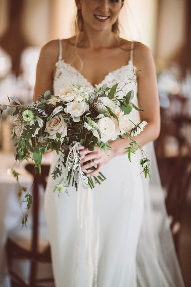 White Rose Wedding Bouquet // Brookfield Barn Wedding Venue With Rustic Styling And Bride In Enzoani With Images From Lemonade Pictures And Film By Kitebox Films