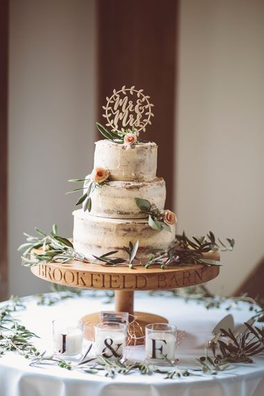Semi Naked Wedding Cake // Brookfield Barn Wedding Venue With Rustic Styling And Bride In Enzoani With Images From Lemonade Pictures And Film By Kitebox Films