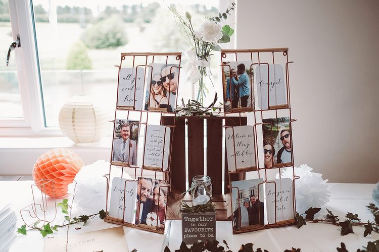 Rustic Wedding Photo Display // Brookfield Barn Wedding Venue With Rustic Styling And Bride In Enzoani With Images From Lemonade Pictures And Film By Kitebox Films