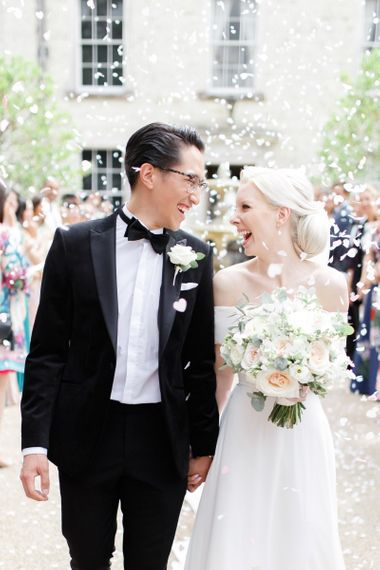 Confetti moment at luxury Froyle Park wedding