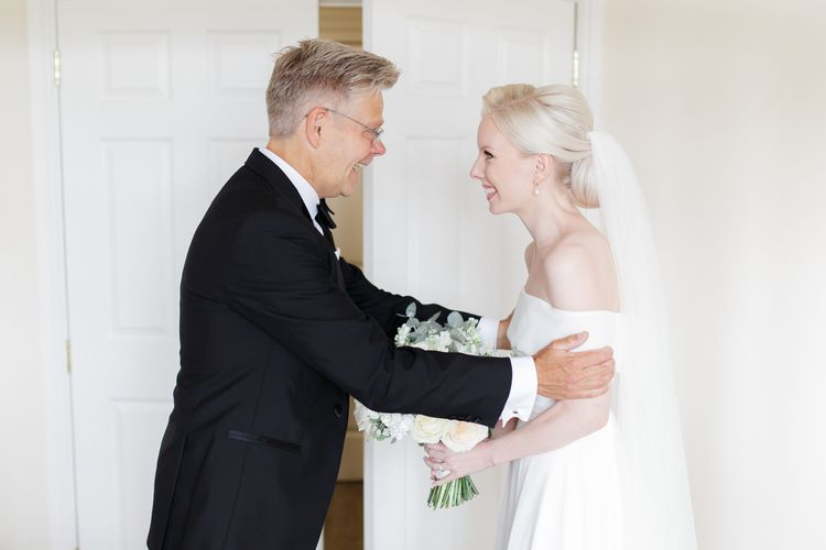Father of the bride first look with bride in Mori Lee wedding dress